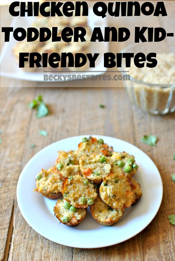 Chicken Quinoa Toddler and Kid-Friendly Bites are protein and vegetable packed portable nibbles that toddlers and kids will love and parents will enjoy too! (omit step 4 in instructions)