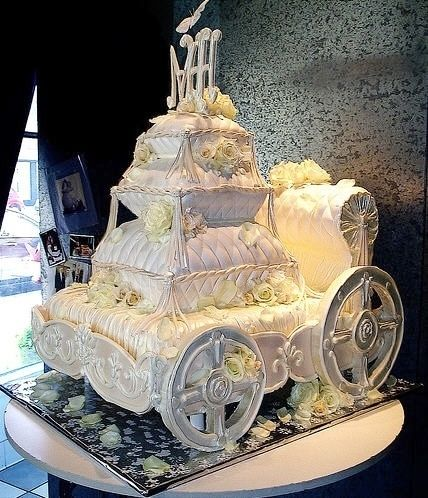 LOVE this - Cinderella Wedding Cake! - The carriage - the pillows - [I would use a different cake topper]