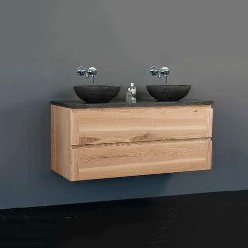 De Badkamermeubel Wood Dynasty 1200 is van het merk Sanilux. De badkamermeubel is gemaakt van MDF materiaal en de waskommen van natuursteen. De waskommen hebben een ronde vorm en een antracieten kleur. De meubel heeft 2 greeploze lades met soft close functie. De afmetingen zijn 120 cm breed, 45 cm diep en 50 cm hoog. Verkrijgbaar in de kleur natuur.