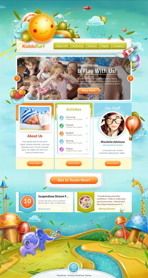 A gorgeous, responsive kids WordPress theme ideal for a kindergarten website or a blog discussing children activities.