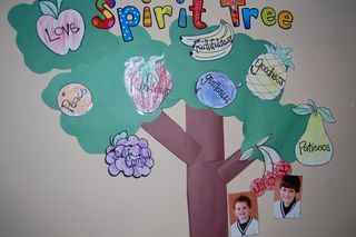 "Fruit of the Spirit Tree.  We did this at the first of this year and my kids loved it!  We did a little different variation and had one branch for each element and when I ""caught"" them displaying the fruit of the spirit, they got to put a fruit sticker on the coordinating branch.: Teaching Idea, Spirit Idea, Church Stuff, Kids Stuff, Spirit Trees, Fruit Stickers, Night Schools, Education Lif Skills, Branches"