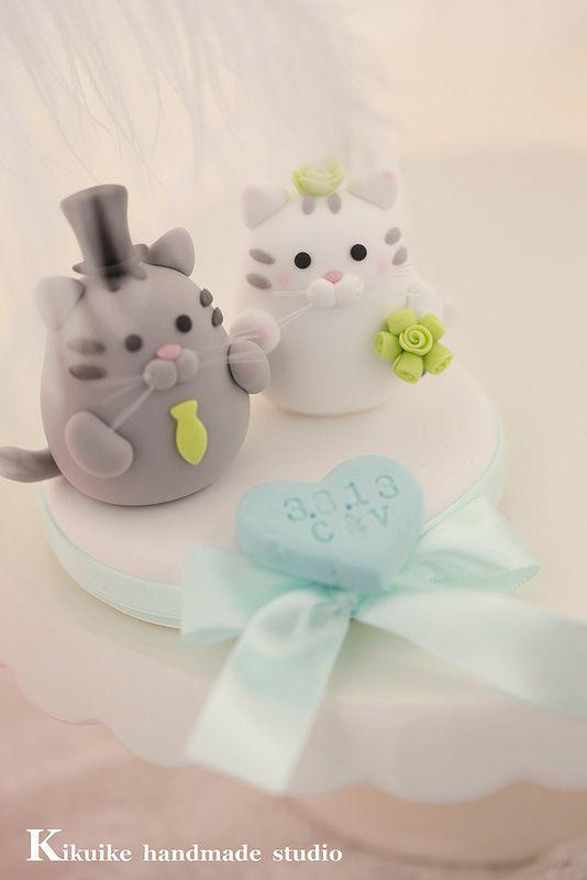 Handmade cat and kitty Wedding Cake Topper