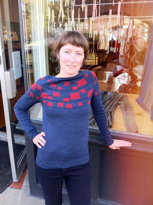 The Daisy Sweater ($118) by Erdaine features a fun block detail around the neckline, and is constructed from lightweight Italian merino wool using a seamless technology. The gorgeous blue and red colour scheme adds fun colour to the geometric details. Only one left in size S.