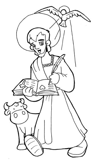 St. Luke the Evangelist Catholic Coloring Page. Patron of physicians and surgeons.  Feast day is October 18th.