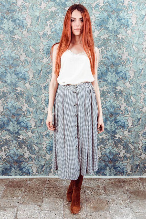 Vintage bouton vers le bas de la jupe jupe par byLouisaClothing