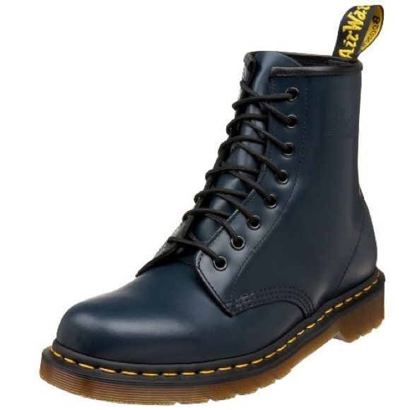 BRAND NEW Dr Marten Navy Blue Boots doesn't come with tags but it is brand new and never worn. listed as NWT but it is NWOT (: ask questions! Comes with yellow laces as well. Size 9 for Women or Size 8 for Men. Dr. Martens Shoes