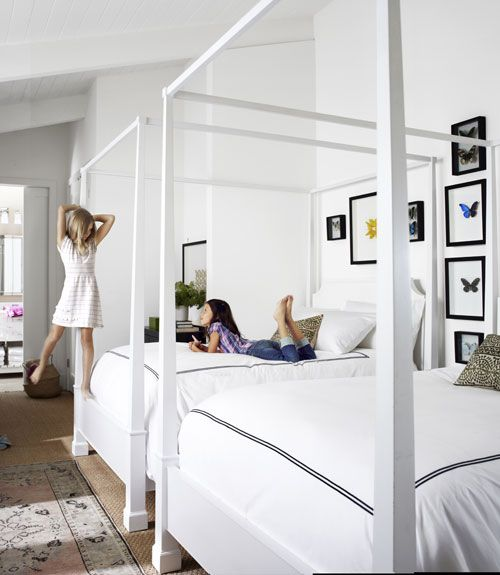 Now, can twins Alexis (left) and Arianna keep their bedroom this white and clean? #kids #decorating