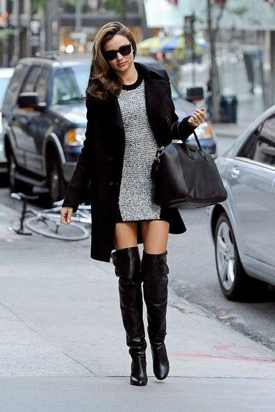Overknees with a dress, a perfekt style for #Miranda Kerr