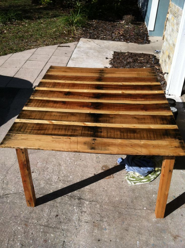 Pallet Table With Natural Stain   Cool wood projects, Wood ...