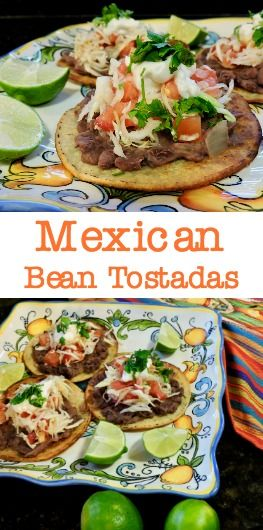 Mexican Bean Tostadas for any fiesta coming up! Recipe at www.thehonestginger.com/bean-tostadas/ YUM!! #vegan #vegetarian #mexican #spanish #cincodemayo #food #yum #foodie #veganfood #healthy