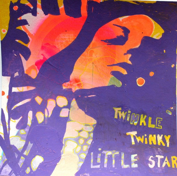 Twinkle twinky little star.18 x 18 cm, mixed media on paper 2010  by Charlotte Clausen
