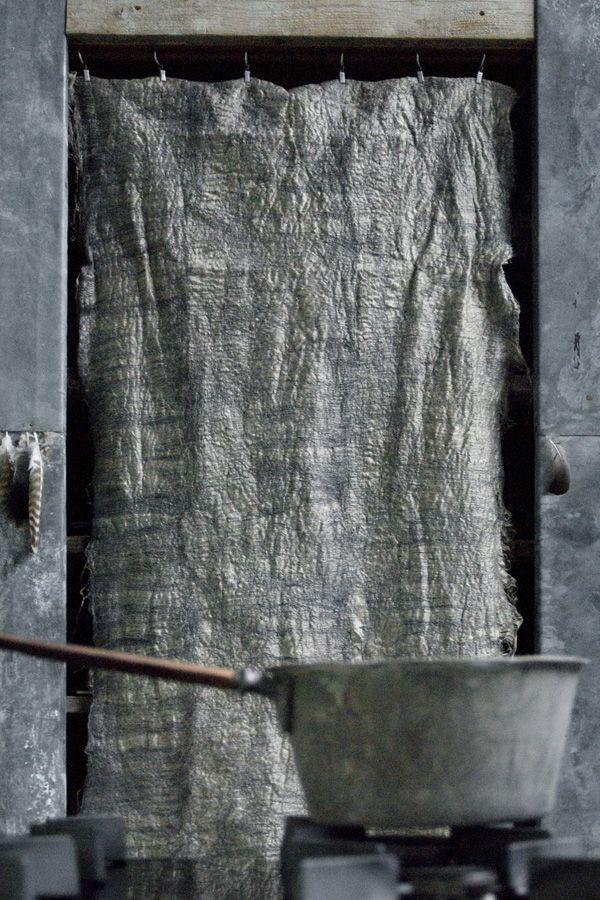 paula leen, linen curtain in doorway