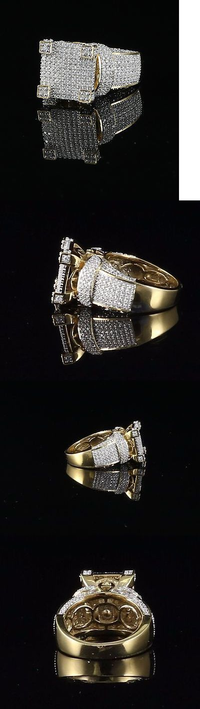 Men Jewelry: 10K Yellow Gold Finish Lab Created Diamond Silver Mens Ring Size 8 BUY IT NOW ONLY: $89.99