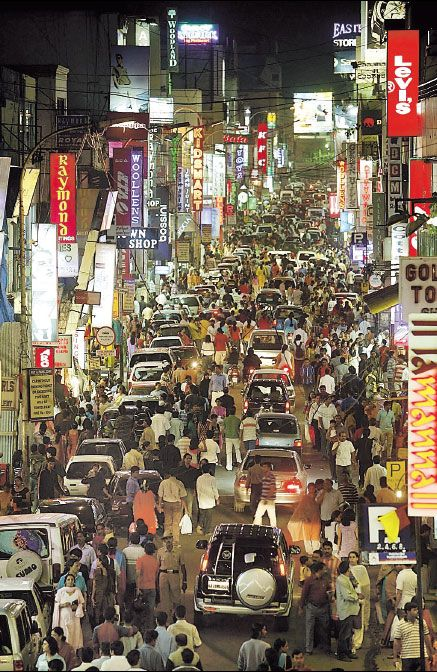 Streets of Bangalore, INDIA  Bit crowded, eh? 1996-7 [India - one visit was too many]