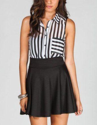 FULL TILT Stripe Pocket Womens Shirt