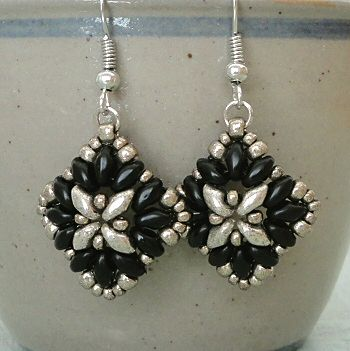 Linda's Crafty Inspirations: Liz Band & Corundum Earrings Set - Jet & Pewter