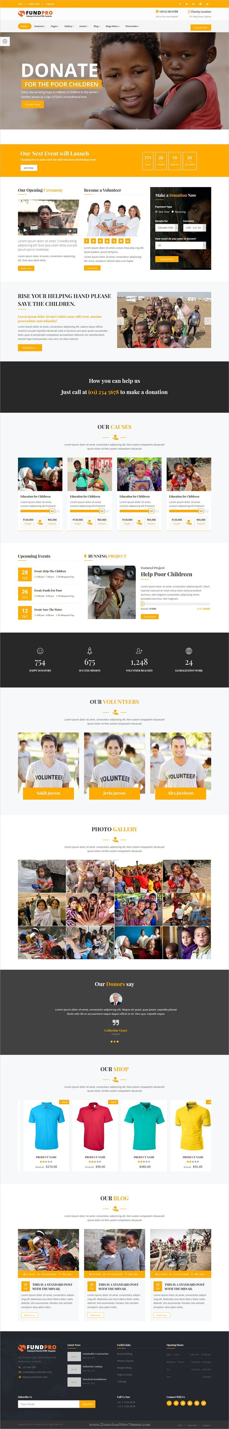FundPro is clean and modern design #bootstrap template for #charity, crowdfunding and #nonprofit organizations website with 24+ different homepage layouts download now..