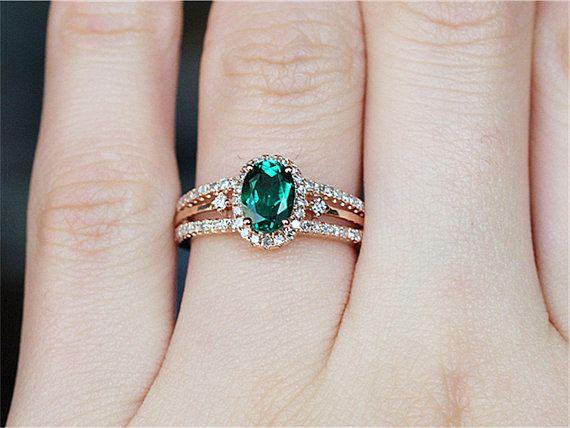 5x7mm Esmeralda anillo de compromiso Ring14k por LoveGemArts