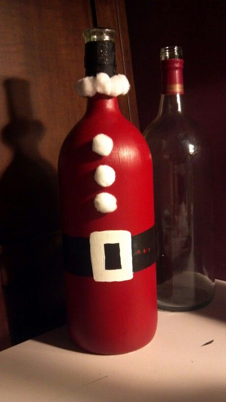 Wine bottle santa paint ribbon and pom poms a easy and for Easy wine bottle painting ideas