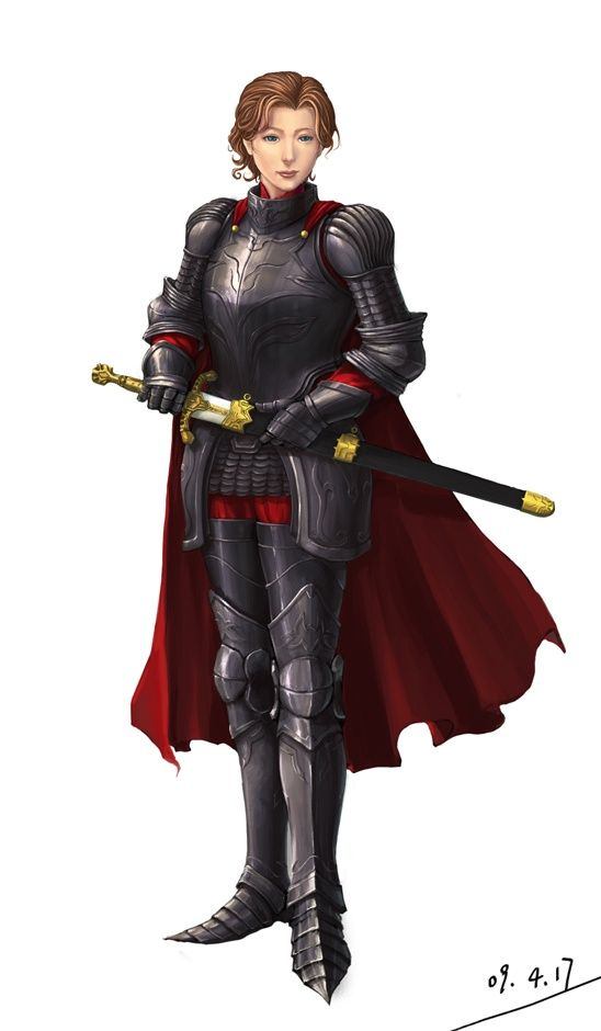 female fighter/cleric plate armor and cape