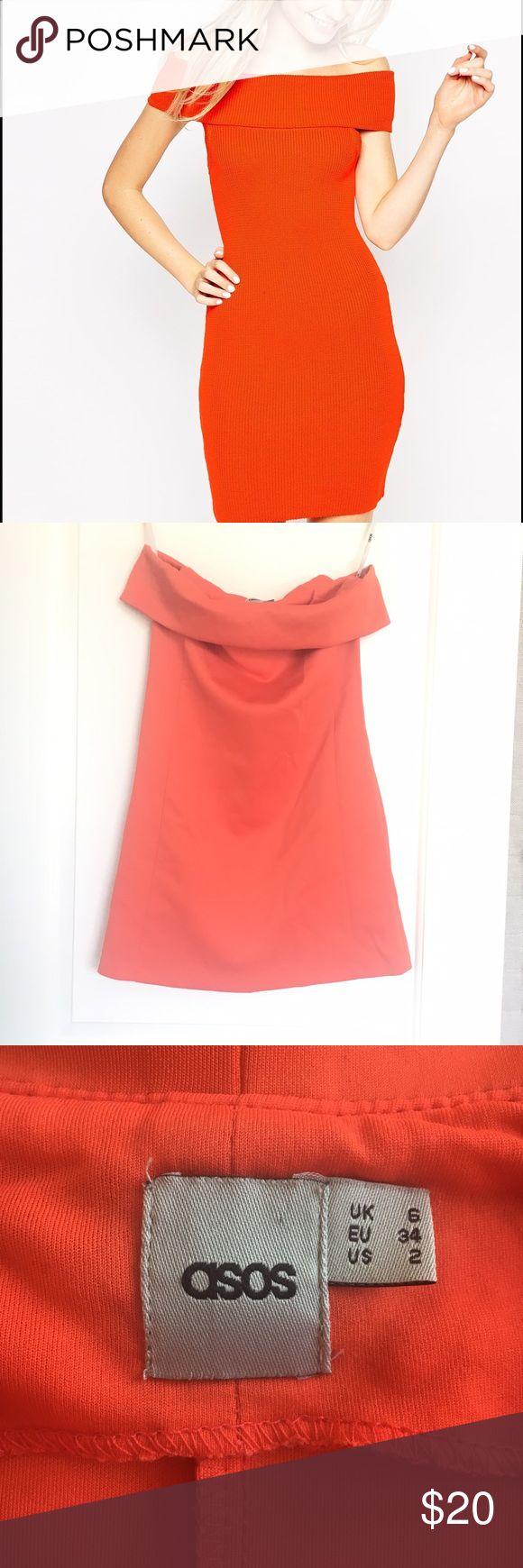 🎉ON SALES🎉 ASOS ORANGE OFF SHOULDER DRESS ASOS Off-shoulder orange dress 👗 💋perfect for GNO,spring or summer outfit, vacay dress ASOS Dresses Mini