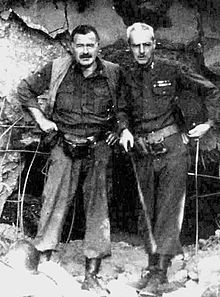 Hemingway with Col. Charles (Buck) T. Lanham in Germany, 1944, during the fighting in Hürtgenwald, after which he became ill with pneumonia