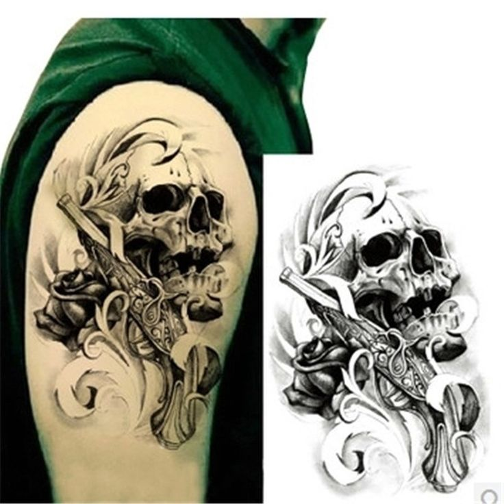 1pcsSexy Black Death Skull Shoulder 3D Tattoo Waterproof Temporary Tattoos Men Henna Fake Tattoo Sleeve Arm Sticker For Body Art