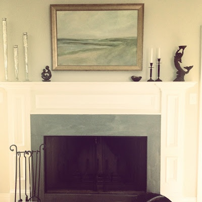 White fireplace mantel with bluestone surround seascape for Grey stone fireplace surrounds