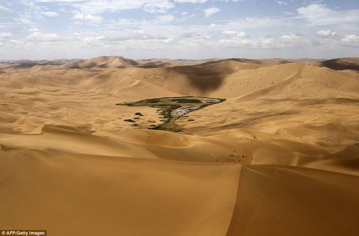 Mother nature at its most extreme - an oasis in the middle of the Gobi Desert where cars are racing to get to Beijing this week