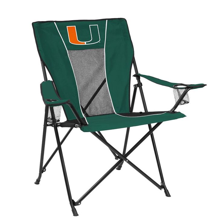 Outdoor Adult Logo Brand Miami Hurricanes Game Time Portable Folding Chair, Multicolor