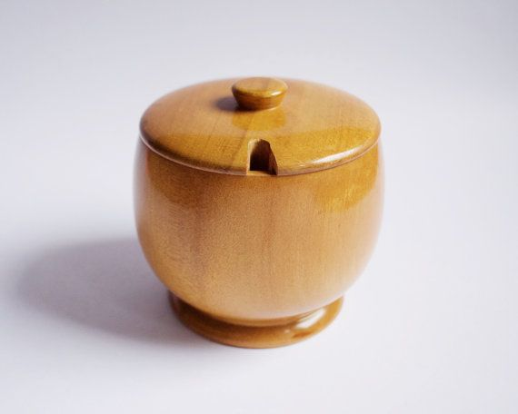 Mid Century Wooden Sugar Bowl with Lid by SomethingKitsch on Etsy