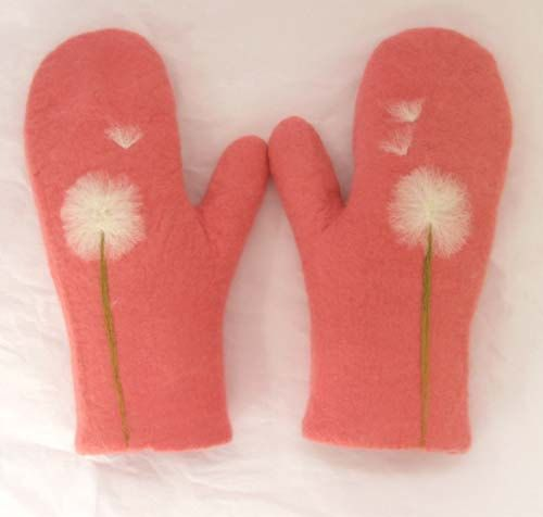 felted wool mittens in watermelon red with  dandelion design, 100 percent handmade, made to order. $65.00, via Etsy.