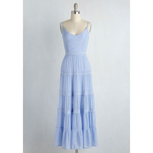 Pastel Long Sleeveless A-line La Vibe Boheme Dress ($75) ❤ liked on Polyvore featuring dresses, v neck maxi dress, bohemian maxi dress, bohemian dress, blue maxi dress and blue a line dress