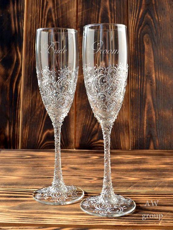 Wedding Champagne Flutes Silver Wedding Champagne Glasses Toasting Flutes Silver Wedding Flute Set Personalized Wedding Decor Bride Groom Wedding Champagne Flutes Wedding Flutes Personalized Wedding Decor
