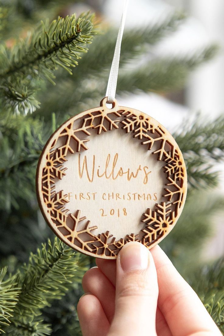 Personalised Snowflake First Christmas Decoration Snowflake Etsy In 2020 Wooden Christmas Decorations Christmas Decorations Personalised Christmas Baubles