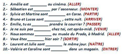 Curso gratis de Francés Elemental. Ejercicios - Le passé compossé ...
