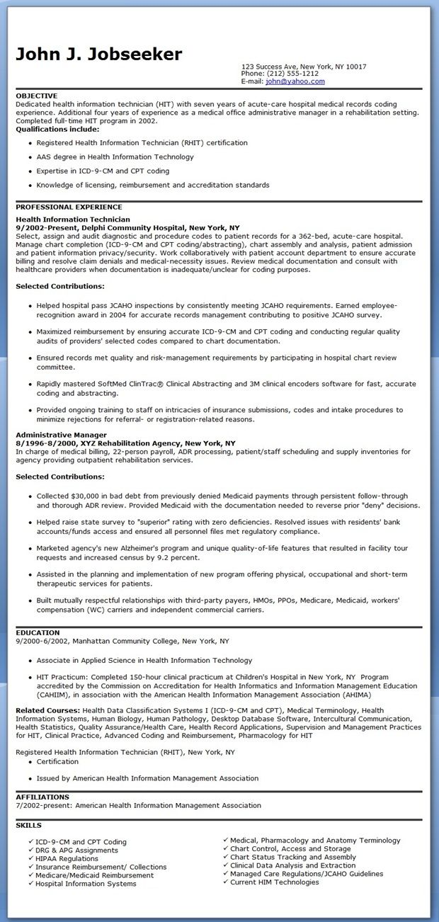 best images about medical career life health information technician resume sample