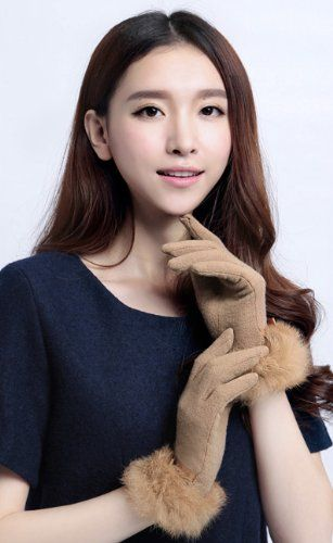 Amazon.co.jp: おしゃれ レディース 手袋 ラビットファー付き: 服&ファッション小物