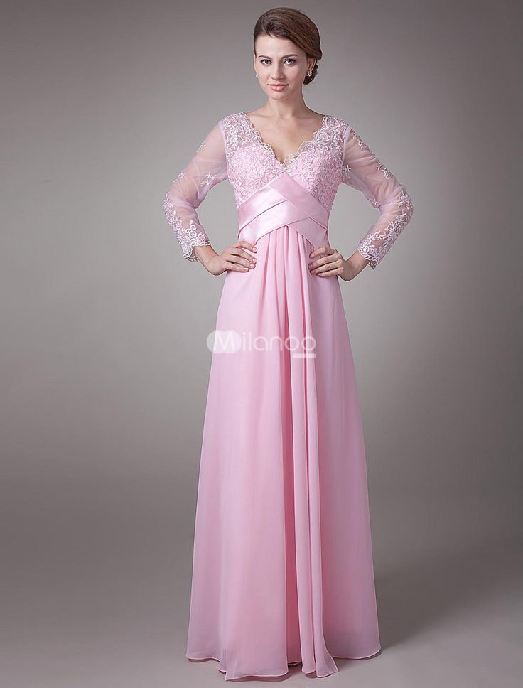 Charming Pink Chiffon V-Neck Long Sleeves Floor Length Mother of The Bride Dress. You want to look stunning on your daughters special day and here at Milanoo, we can help. This beautiful Mother of the Bride gown features a sleeveless bodice, V-neckline and a lovely wrapped pattern across the chest... . See More Mother of the Bride Dresses at http://www.ourgreatshop.com/Mother-of-the-Bride-Dresses-C928.aspx