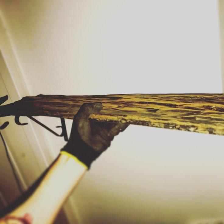 wall shelf, driftwood, oiled, homemade