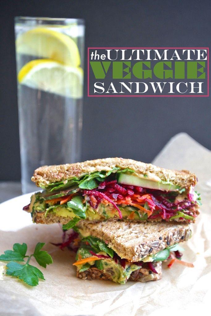 The Ultimate Veggie Sandwich: whole grain bread, avocado, sesame seeds, cilantro hummus, carrots, beets, spinach, cucumber... the works! // shutterbean