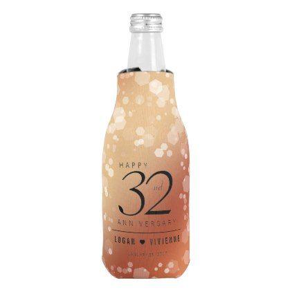 Elegant 32nd Bronze Wedding Anniversary Bottle Cooler - confetti wedding marriage party gift idea diy