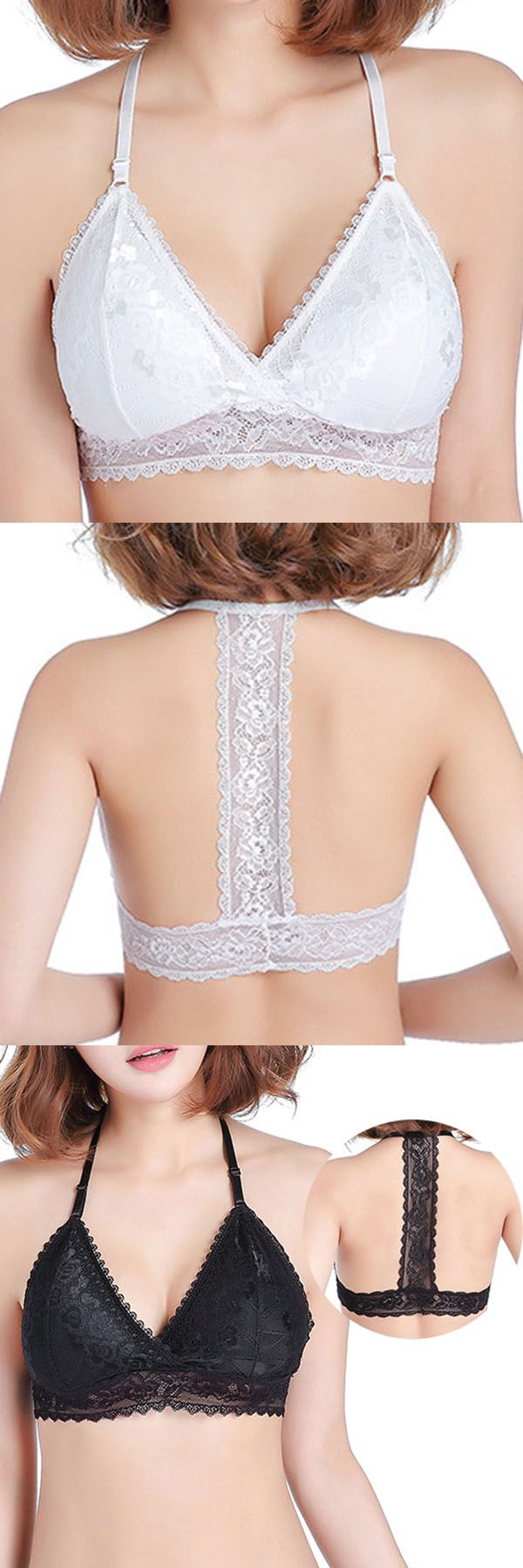 US$5.89+Free shipping. Sexy Bra, Lace-trim Bra, Deep V Bra, Special Design, Backless, Seamless, Breathable.