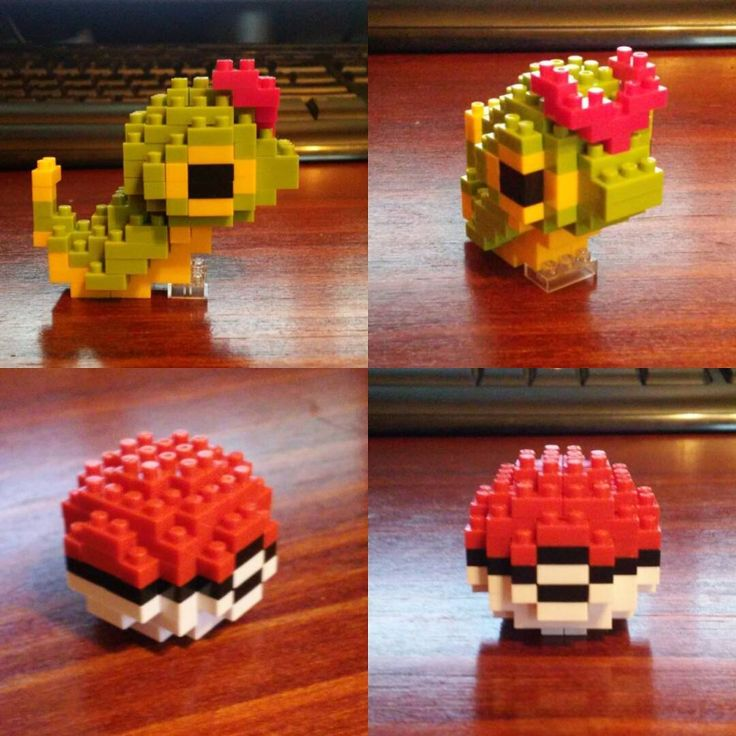 «I built Caterpie!! ^_^  #nanoblock #caterpie #pokemon»