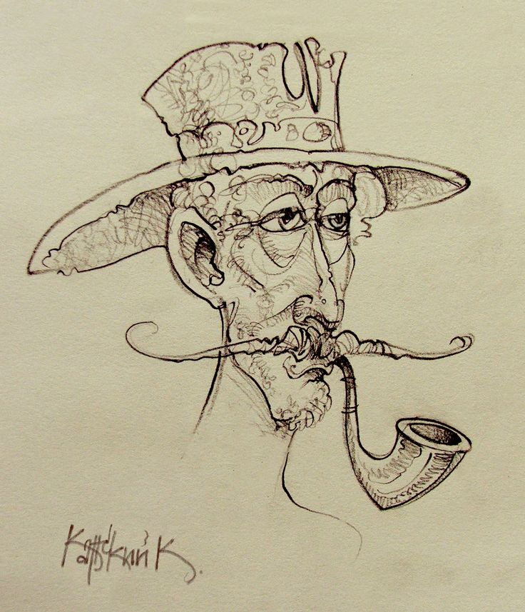 Мужчина с трубкой... Man with a pipe .... graph paper, pencil  graphics, design paper, pencil