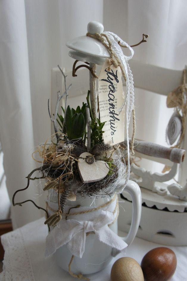 Osterdeko - Frühling in der Kaffeekanne.... - ein Designerstück von Hoimeliges bei DaWanda