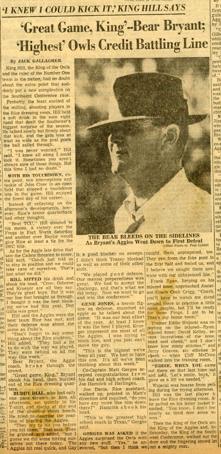 1957 Game Article between Texas A&M vs Rice featuring