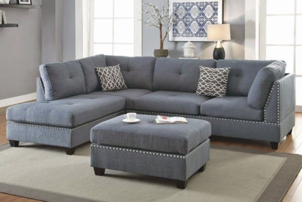 3 Piece Sectional Sofa With Ottoman Blue Grey Color F6975 Casye Furniture In 2020 Grey Sectional Sofa Living Room Sofa Design Gray Sectional Living Room