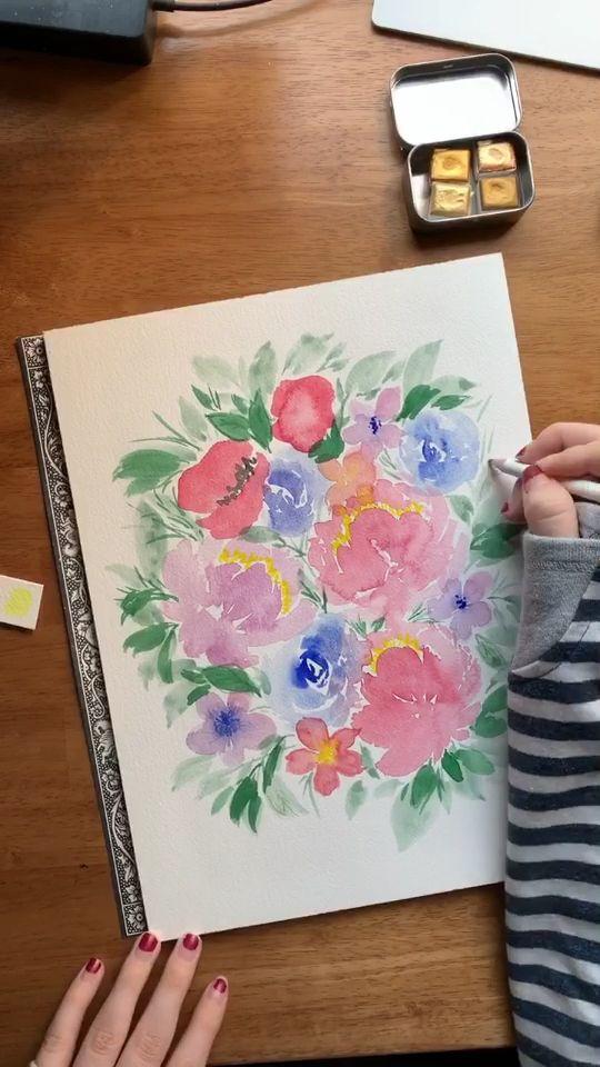 Loose watercolor florals 🌺