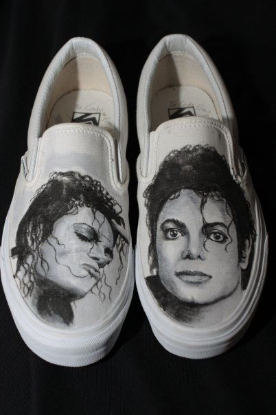 Michael Jackson Portrait Vans Slip On Custom Shoes by Matt
